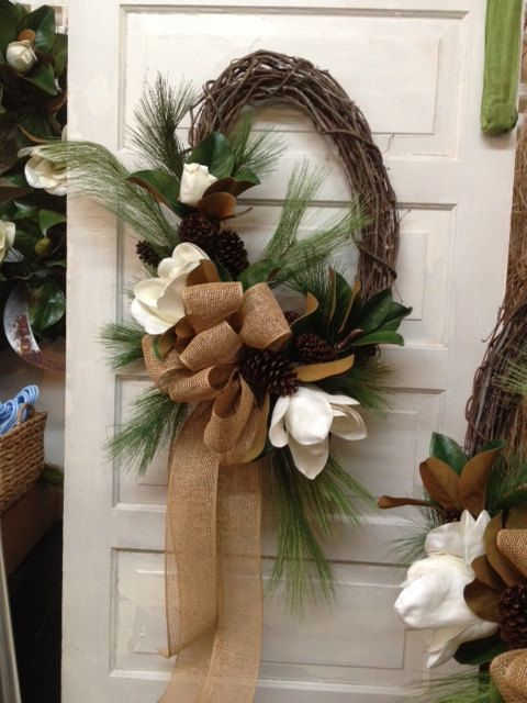 Faux Magnolia Wreath by AldenasOnSouth on Etsy
