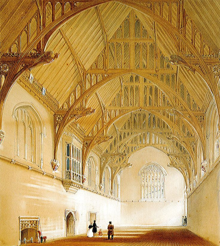 Painting of the interior of the Great Hall, University of Sydney, by Edward Blore (1787-1879), circa 1865