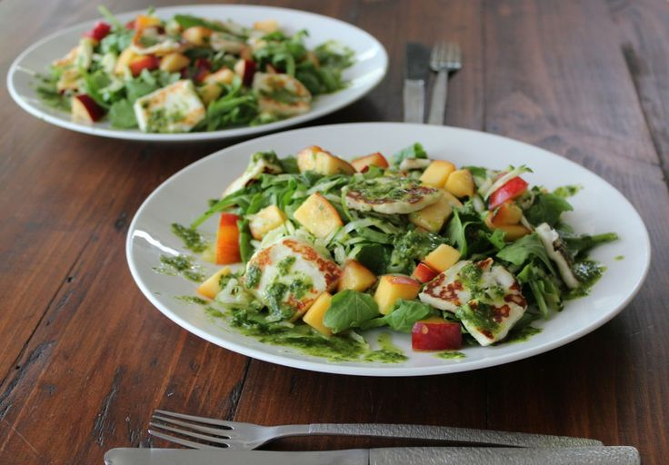 Haloumi & Nectarine Salad with Mint & Parsley Dressing