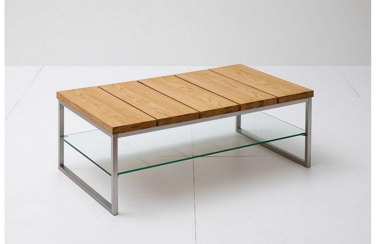 Table basse avec chêne et verre - Mobilier de salon contemporain -Meuble et Canape.com