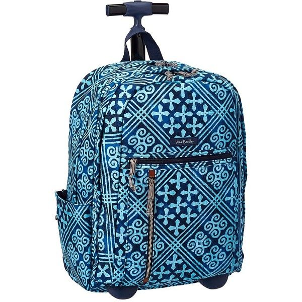 Vera Bradley Rolling Backpack (Cuban Tiles) Backpack Bags ($148) ❤ liked on Polyvore featuring bags, backpacks, zipper bag, multi color backpack, vera bradley, rucksack bags and roll bag
