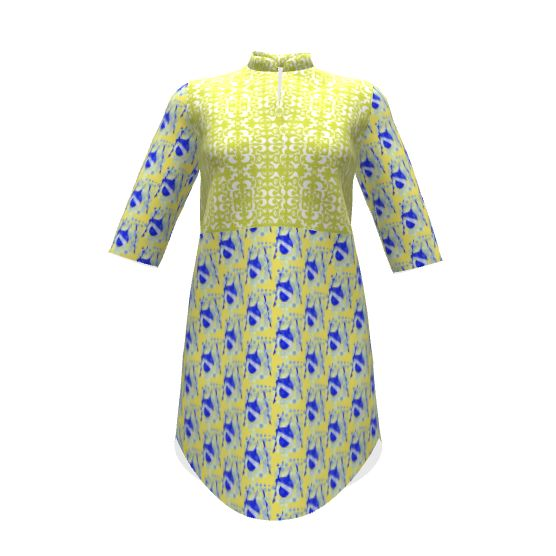 Named Clothing Helmi Tunic Dress made with Spoonflower designs on Sprout Patterns. Fabric designs by rhondadesigns and shi_designs. Please check 2D view for exact fabric placement for your size. A product of the SAGE Group.