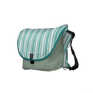 Teal and White Stripes Messenger Bags