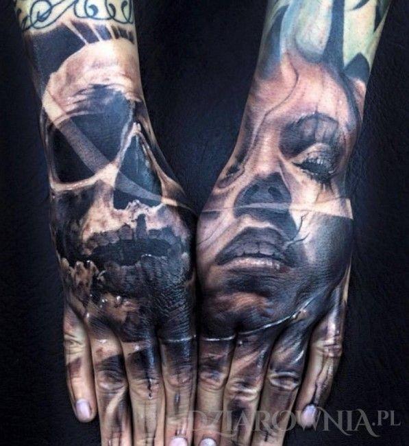 Tatuaż Czacha i portret  - czaszki, postacie, na dłoni, dla mężczyzn