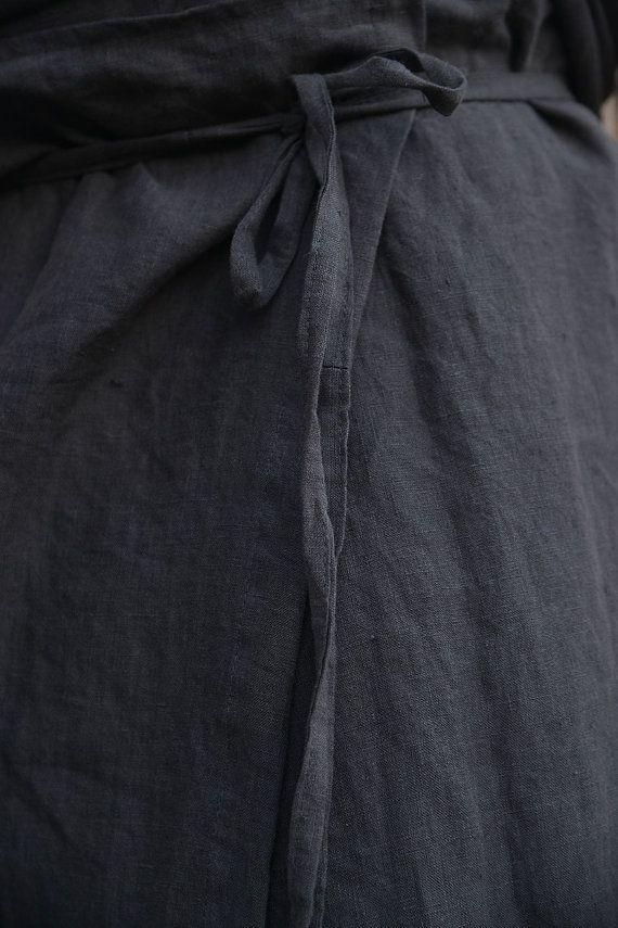 ZEUS. Mannen zwarte olijf zuiver linnen pareo met zak. Unieke