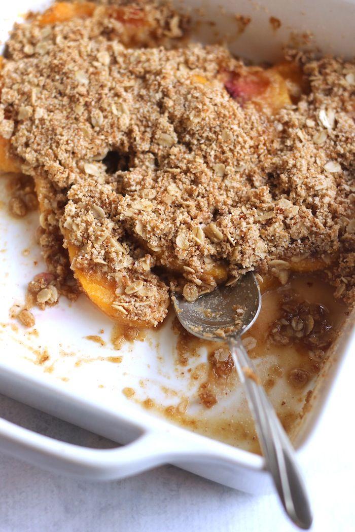 Easy Healthy Peach Crisp pbpy hummusapien #Peach_Crisp #Healthy