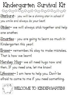 Kindergarten Survival Kit- Will be making something similar for students on Back to School night by penelope