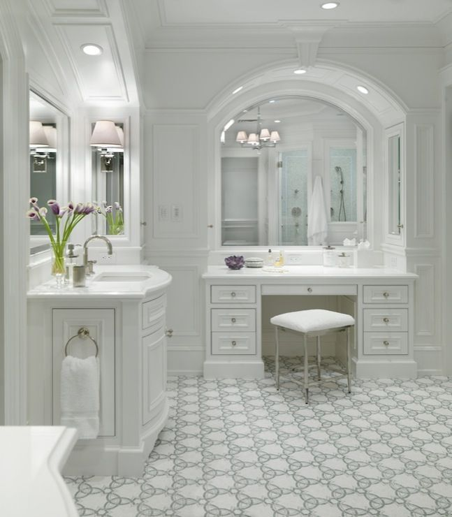 31 Beautiful Recessed Lighting Over Bathroom Vanity: Beautiful Master Bathroom With White Single Bathroom Vanity