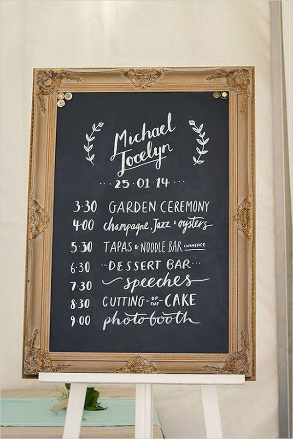 Vintage Wedding Day Timeline Sign Ideas Wedding Chalkboard Signs Chalkboard Wedding Vintage Wedding Signs