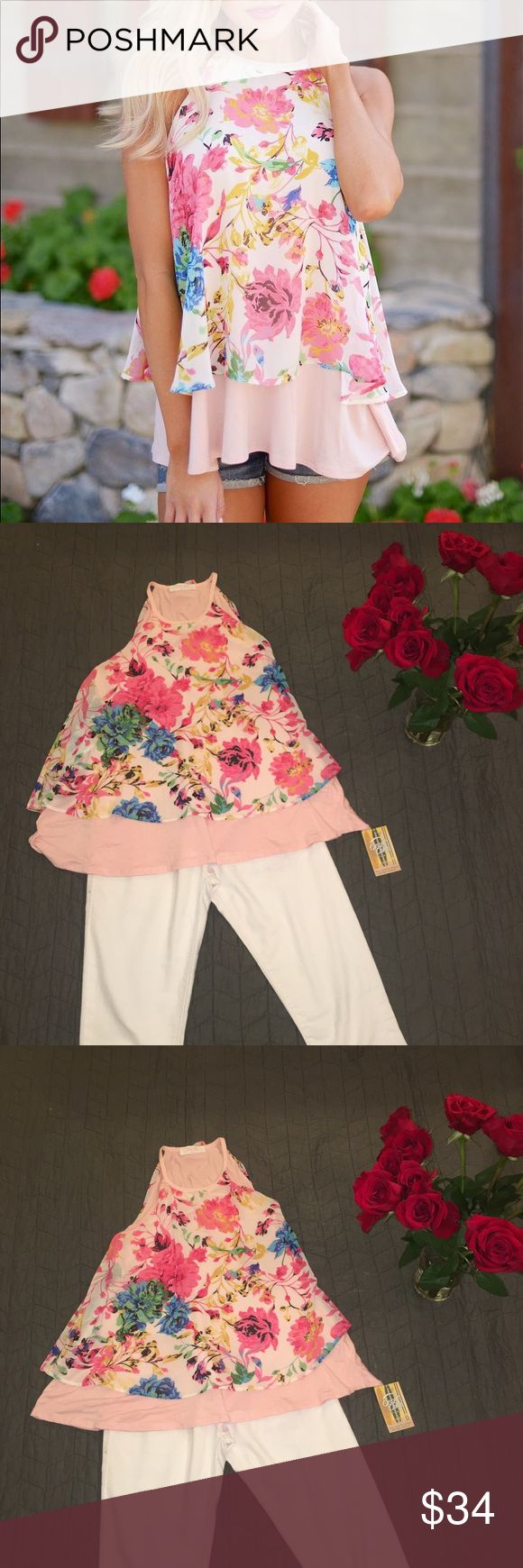 New Boutique blush top with floral print small New closet candy boutique making me blush floral top in a size small. Perfect for spring. Brand new with tags Closet Candy Boutique Tops Tank Tops