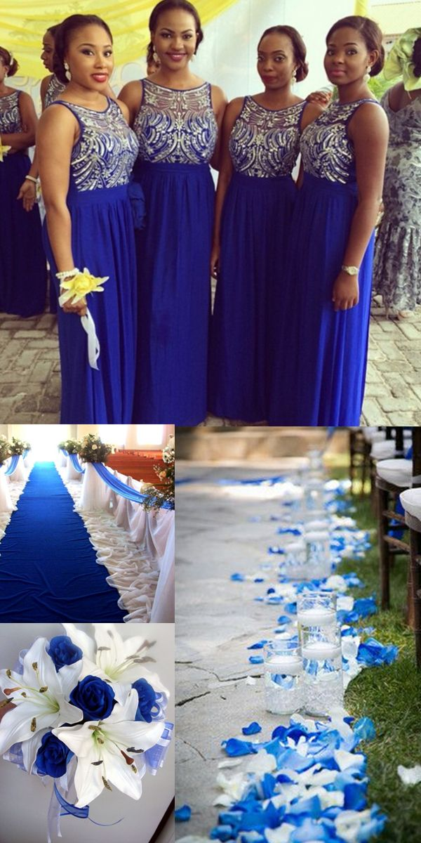Charming A-Line Boat Neck Royal Blue Chiffon Bridesmaid Dress with Beading @veenrol wedding ideas, royal blue wedding, royal blue wedding cakes, royal blue bridesmaid dresses