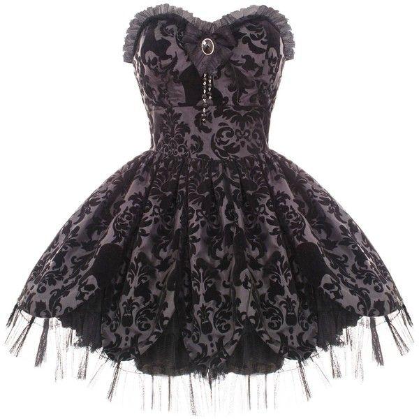 HELL BUNNY PETAL BLACK GOTH VICTORIAN MINI PROM DRESS ($63) ❤ liked on Polyvore