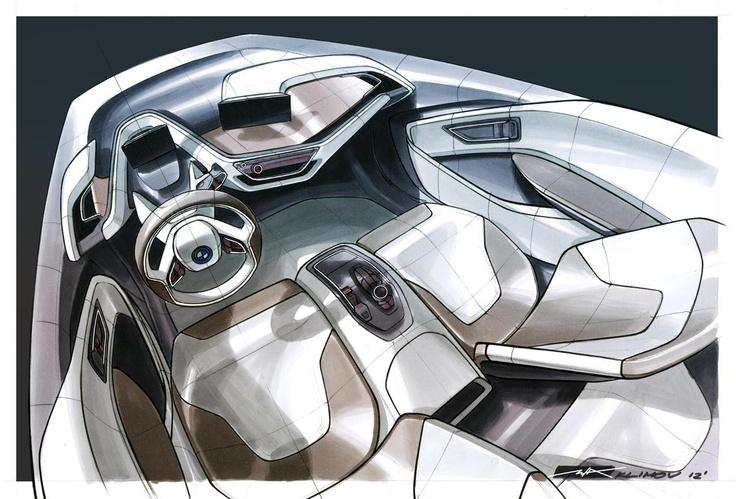 BMW i3 Coupe Concept interior sketch by Misha Klimov