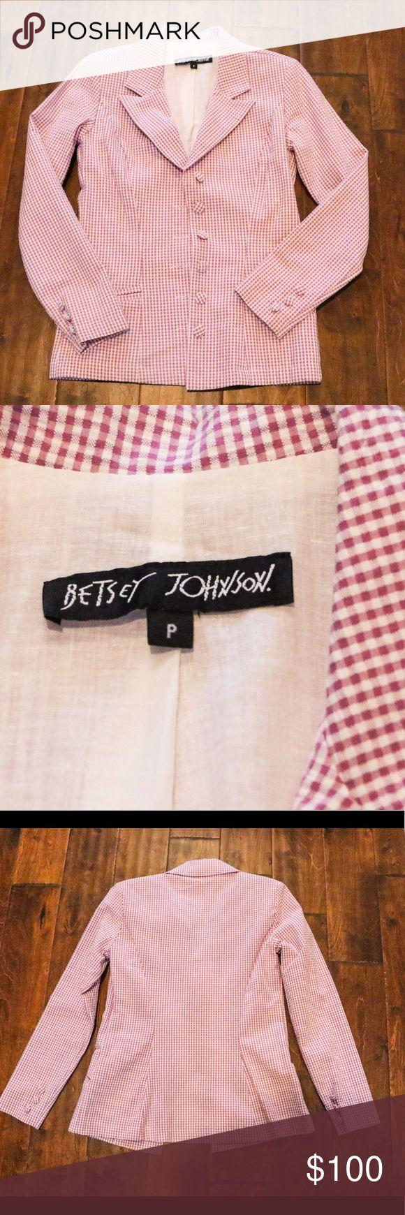 BETSEY JOHNSON Seersucker blazer sz P/S Betsey Johnson Seersucker purple gingham blazer/jacket  Sz P/S. Immaculate condition Betsey Johnson Jackets & Coats Blazers
