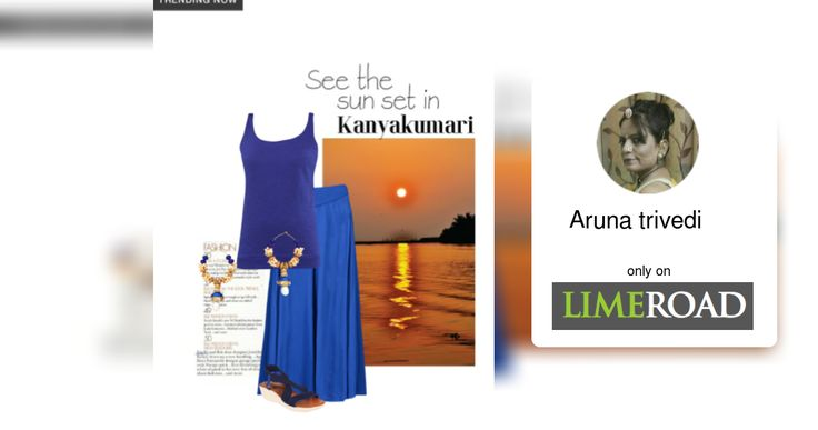 'See the sunset in Kanyakumari' by me on Limeroad featuring Solids Blue Tees, Semi Precious Blue Earrings with Back Strap Blue Sandals