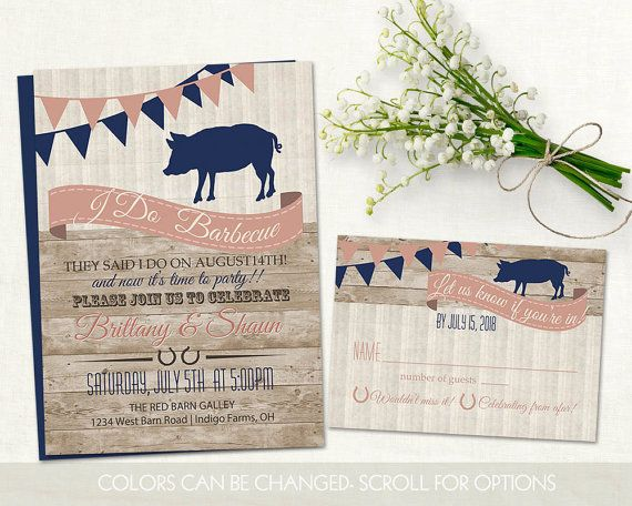 Country western I Do BBQ Wedding Reception Invitations. Country western Wood grain wedding reception barbecue invitation and rsvp card. The wedding invitation (5x7) has a woodgrain background with flags, bunting and a banner in tones of navy blue and blush (colors can be changed)