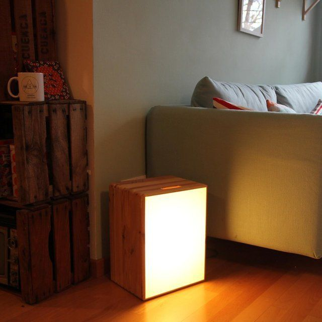 A container of soft light, ideal for enjoying your surroundings. Handmade with reused wood. Please allow 3-4 weeks for shipping.