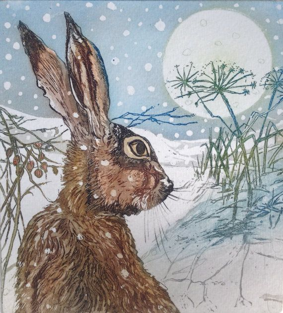 Christmas Hare Greeting Card 4x4'' Blank by SallyWinterEtchings, $9.45