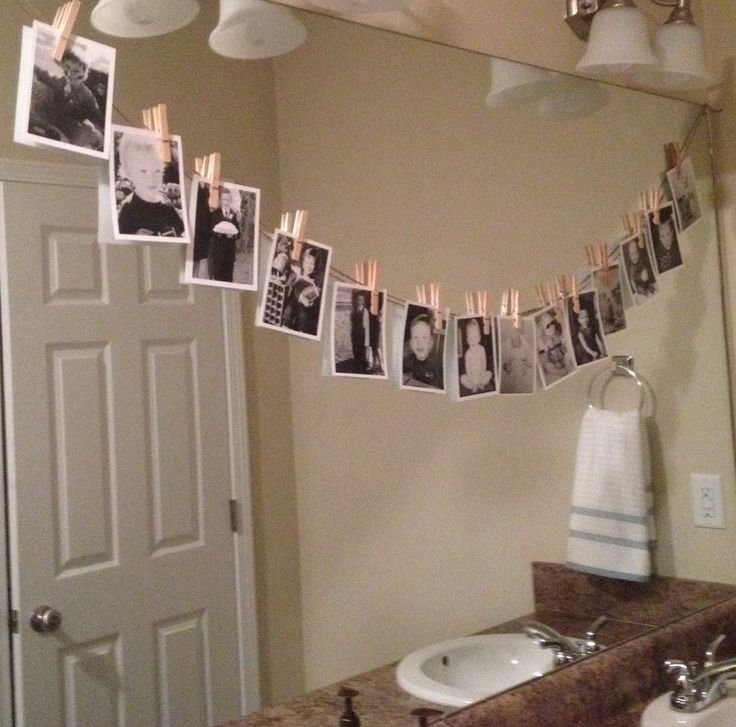16th birthday party idea-Hang B/W pictures from son's life with clothes pins on twine for decoration anywhere!