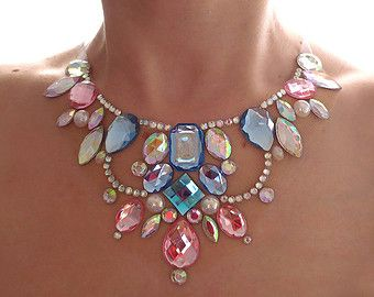Floating Rainbow Statement Necklace by SparkleBeastDesign on Etsy