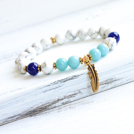 Howlite, Amazonite and Sodalite Mala Bracelet - For Calmness, Mindfulness, Balance, Patience, Deep Meditation, Better Sleep, Healing - Choice of Gold or Silver Plated Accents This artist designed mala bracelet is made with a combination of high quality genuine semiprecious stone beads: