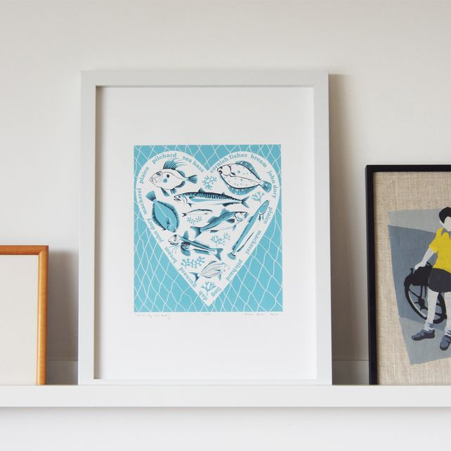 Catch of the Day - Cornish Fishes screen print in Sea Blue £40.00