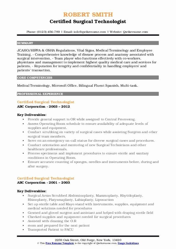 Surgical Tech Resume Examples Beautiful Certified Surgical Technologist Resume Samples In 2020 Resume Examples Manager Resume Treatment Plan Template