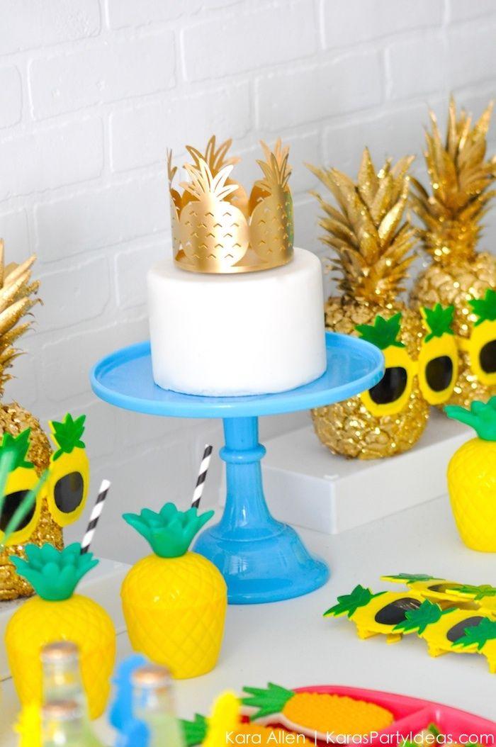 Love the gold pineapple cake topper! Pineapple themed birthday party via Kara Allen | Kara's Party Ideas | KarasPartyIdeas.com Party like a pineapple!