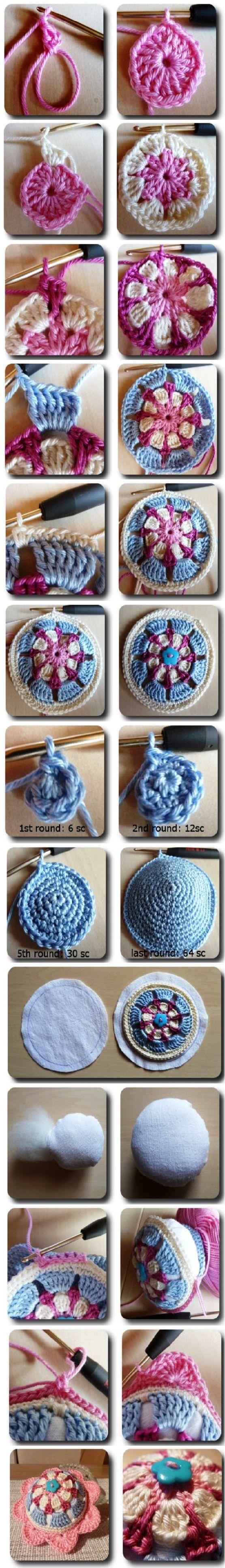 crochet pincushion tutorial - colors and fun!