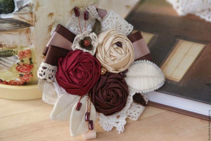 """Купить Брошь из ткани """"Вишня в шоколаде"""" - комбинированный, вишневый, гранатовый, шоколадный, шоколад, вишня, карамель"""