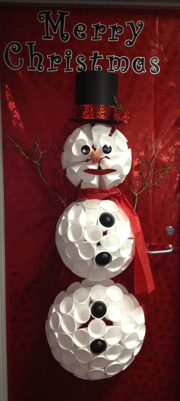 Door snowman made from styrofoam cups classroom door for Snowman made out of cups