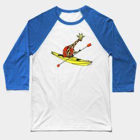 funny giraffe in a seak kayak baseball tee