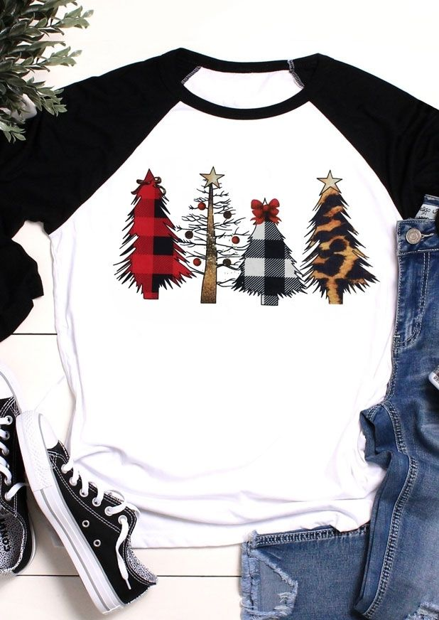Christmas Tree Leopard Printed Baseball T Shirt Tee Bellelily Christmas Tshirts Christmas Outfit Plaid Christmas