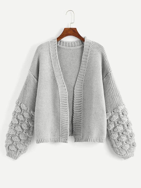 448549432011 Cardigan à manche lanterne en crochet-French SheIn(Sheinside ...