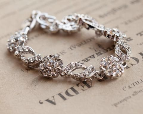 Wedding Bracelets - Silver And Crystal Wedding Bracelet, Freesia