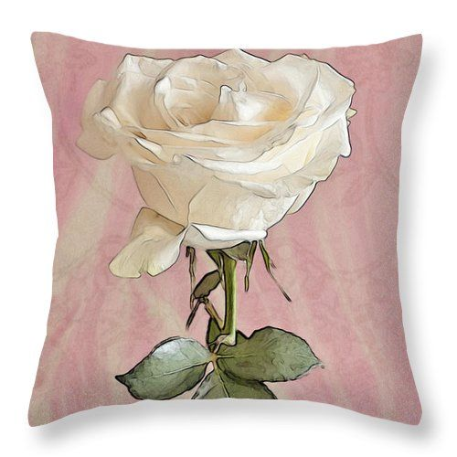 White Rose For Her Throw Pillow featuring the photograph Birthday Wishes For You by Sandra Foster