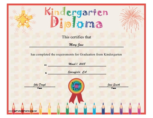 A brightly colored diploma for graduation from kindergarten. Includes a star, ribbon and pencils. Free to download and print