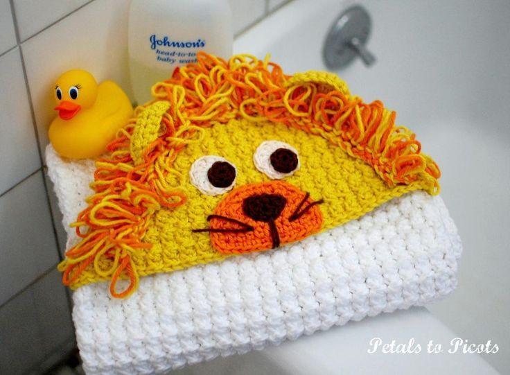 Lion Hooded Baby Towel / Blanket Crochet Pattern