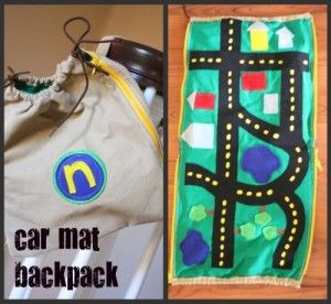 A Homemade Christmas Gift – Car Mat Backpack: Mats Collage, Gifts Ideas, Little Brother, Mats Backpacks, Cars Mats, Cars Accessories, Diy Cars, Plays Mats, Hot Wheels