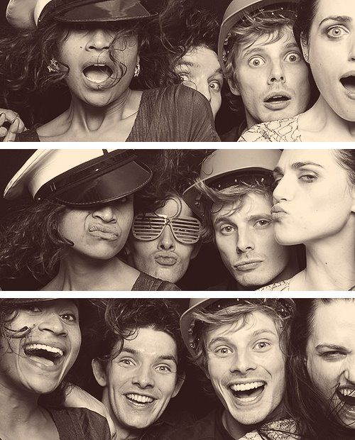 Angel Coulby, Colin Morgan, Bradley James, and Katie McGrath