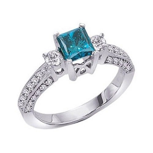 Angara Ribbon Shank Solitaire Princess Blue Diamond Ring(5.5mm) KiFR21