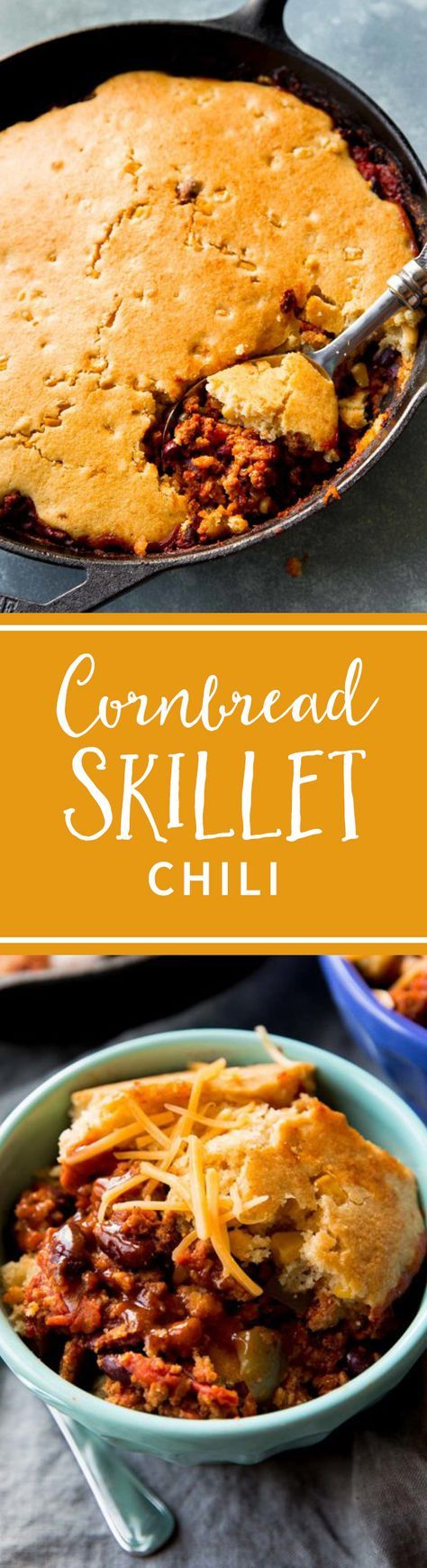 Talk about satisfying! Cornbread and chili cooked in the same pan. Recipe on sallysbakingaddiction.com