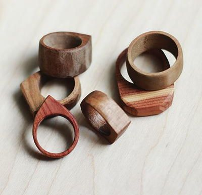 Whimsically Simple DIY Wood Rings have an understated elegance.