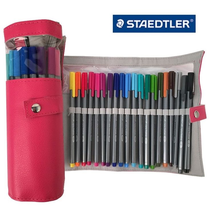 Staedtler Triplus Fineliner 334 PC20 Color Ink Pen 0.3mm Pencil Case Pink #Staedtler