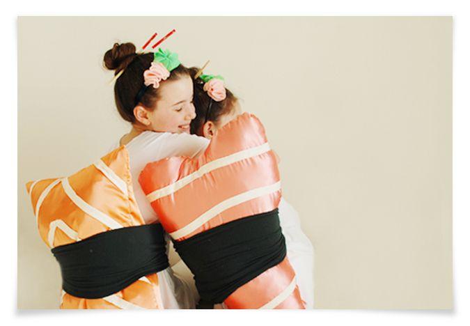 DIY Sushi costumes--ebi & sake nigiri