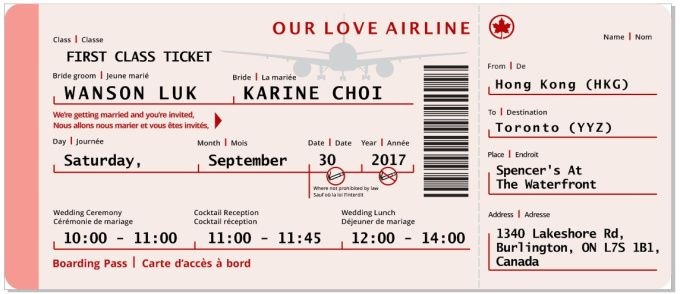 design Boarding pass Invitation with any style you need
