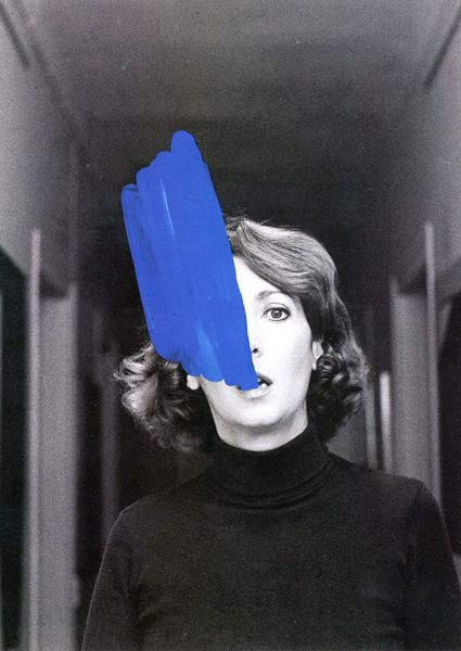 From the Study for Inner Improvement sequence by Helena Almeida. The artist interacting with Yves Klein Blue paint.