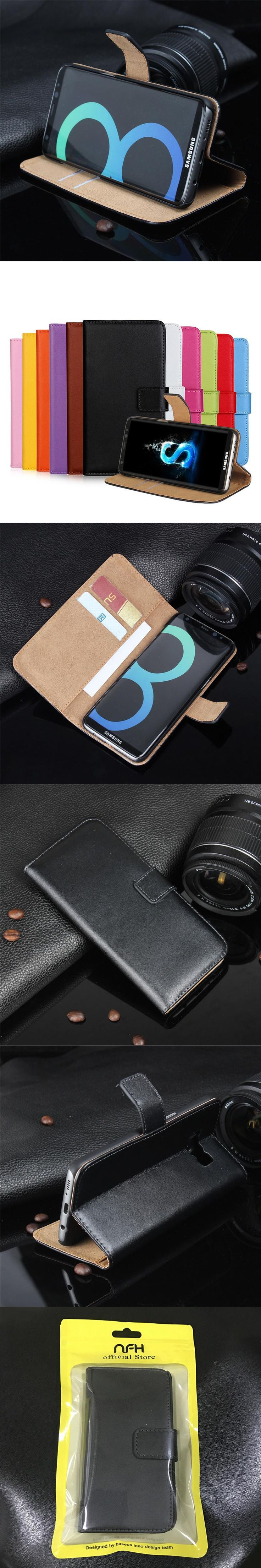 Luxury Wallet Genuine Leather Case for Samsung Galaxy S6 / S7 / S7 Edge / S8 / S8 Plus Flip Cover Stand Design with Card Slot