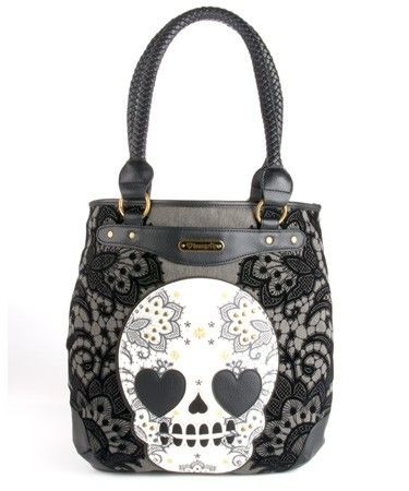 Loungefly Skull With Lace Tote
