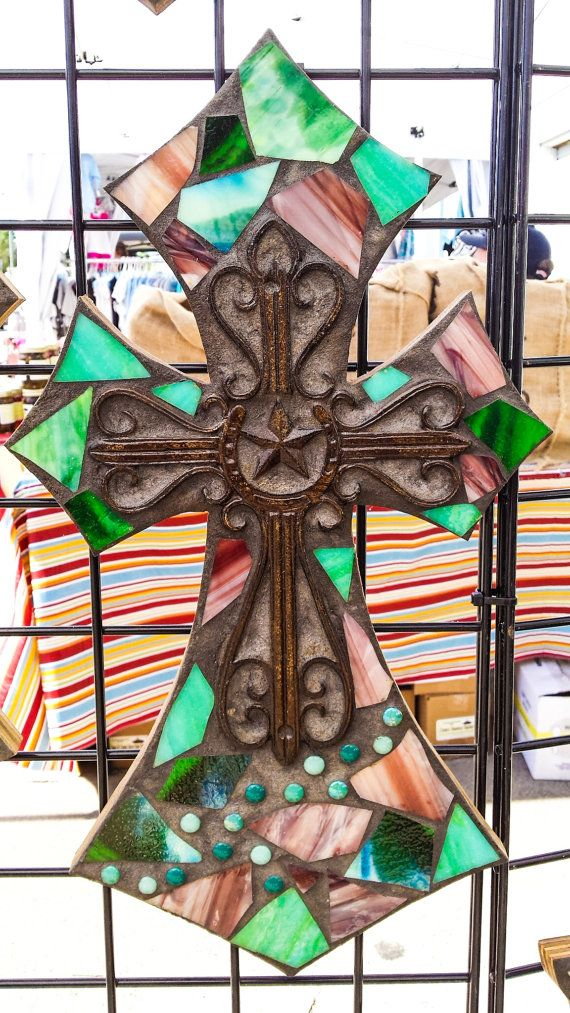 Green Mosaic Cross  Decorative Stained by CountryGooseBoutique